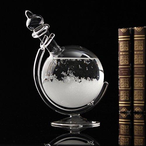 Aissimio Flasche zur kreativen Wettervorhersage mit Kristall kugelförmig aus Glas Dekoration kreative Darstellung von Meteorologie als Geschenk zu Weihnachten