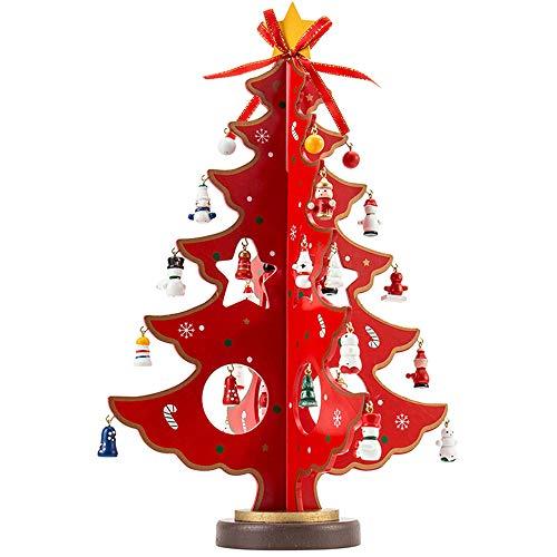 Holz-Weihnachtsbaum kreativer Mini-Holz-Tischbaum Weihnachtsbaum Dekoration für Zuhause Kinder-Geschenk rot Large