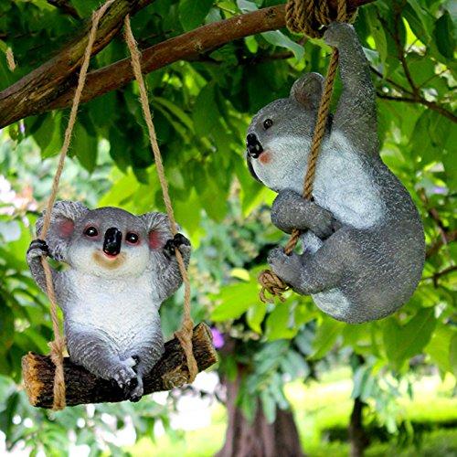 LanLan Gartendeko Nette Harz Simulations Koala Dekorations kreative Tierfig¨¹rchen als Yard Garten Verzierung holt ein seil