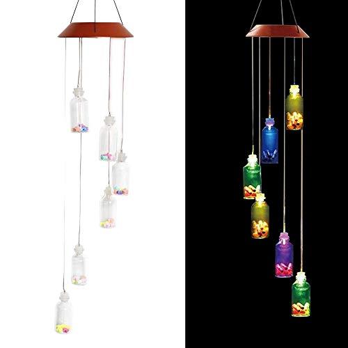Waroomss LED Solar Windspiel Solar Mobiles Farbwechsel Wasserdichte Kreative Wishing Flasche Windspiele Für IndoorOutdoor Home Party Nacht Garten Dekoration