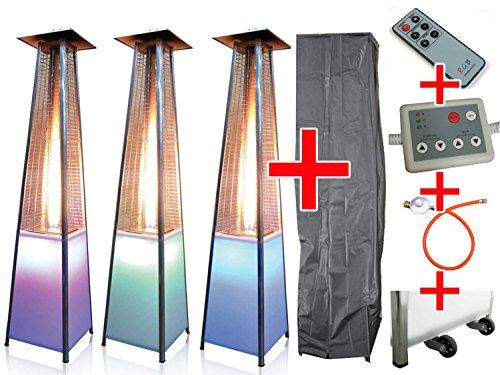Traedgard Luxus Design Heizstrahler Vesuvio LED mit Lichtmodul und Fernbedienung und Rollen inklusive passender Schutzhülle