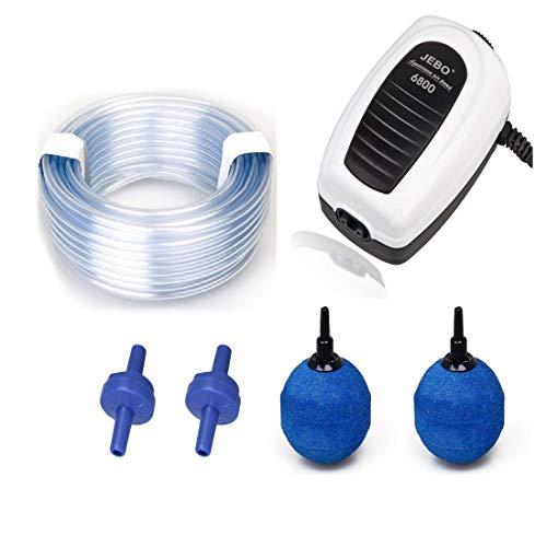JEBO Belüfter - Set mit 2 Ausströmer Teich- und Aquariumbelüfter komplett Set Sauerstoffpumpe mit Luftschlauch und Belüfterkugel und Rückschlagventil