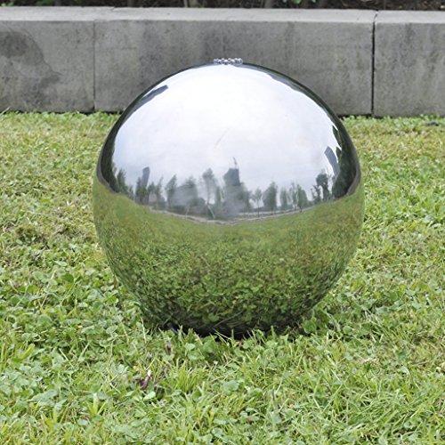 Anself Springbrunnen Kugelbrunnen Brunnenkugel aus Edelstahl mit LED Beleuchtung Durchmesser 403020cm