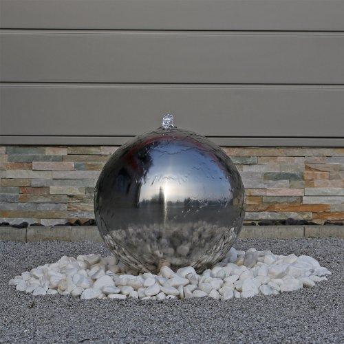 Edelstahl Springbrunnen ESB4 poliert Kugelspringbrunnen mit LED Beleuchtung Brunnen für den Garten