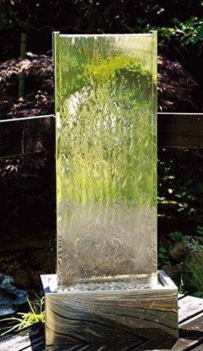 Köhko Springbrunnen Muro I Höhe ca 95 cm mit LED-Beleuchtung aus Edelstahl Wasserwand Wasserspiel für Garten Terrasse