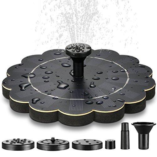 ECHTPower Solar Springbrunnen Solar Teichpumpe Solarpumpe mit 4 Verschiedene Düsen Solar Wasserpumpe Schwimmend Fontäne Pumpe für Gartenteich Vogel-Bad Fisch-Behälter Kleiner Teich