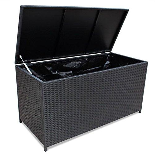 Festnight Auflagenbox Gartenbox Aufbewahrungsbox Polyrattan Schwarz 150 x 50 x 60 cm