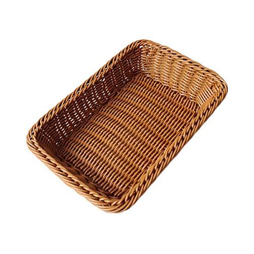 Öko-rechteckige WeidenkorbRattan aufbewahrung körbe bambusgarten picknick korb handgewebte lagerung boxs-braun 60x40x10cm24x16x4inch