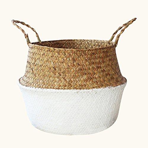 Twilight natürlich gewobener Seegras-Korb zu Aufbewahrung von Wäsche als Blumentopf-Abdeckung oder als Strand- bzw Picknick-Tasche M