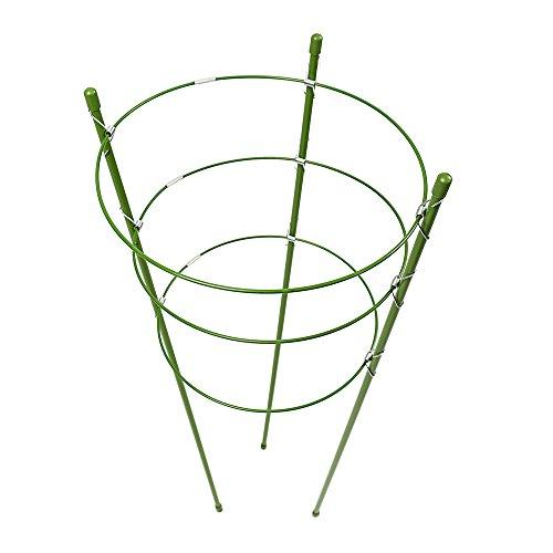 Warooma Pflanzenstütze Rankhilfe Pflanzenkäfig mit 3 verstellbaren Ringen für Topfpflanzen Gemüsepflanzen Blumen Stahl grün 45 cm