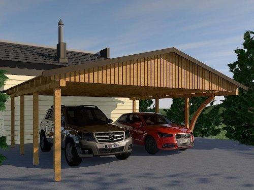 Carport Satteldach MONZA VIII 600cm x 600cm mit 1 Leimholzbogen Bausatz