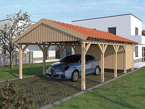 Carport Satteldach Monte Carlo XI 500cm x 800cm mit Geräteraum