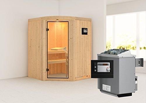 Asmada - Karibu Sauna inkl 9-kW-Ofen - mit Rundbogen -
