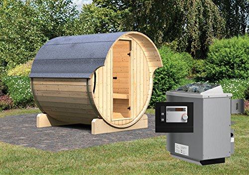 Karibu Fass - Sauna 1 42 mm inkl 9-kW-Ofen - Saunahaus