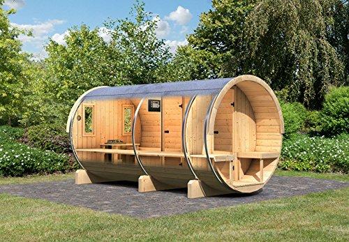 Karibu Fass - Sauna 4 42 mm inkl 9-kW-Ofen - Saunahaus