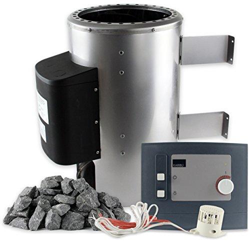 Karibu Saunaofen 36 kW mit Steuerung 20 kg Saunasteine 230 V Steckdose Sauna Ofen Energiesparofen mit elektronischer Außensteuerung