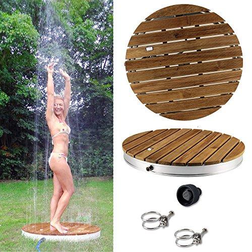 tec Gartendusche Aussendusche aus massivem Teak-Holz Mobile Bodendusche Campingdusche Sauna- Pool-Dusche rund mit Bodenplatte für den Garten Outdoor Shower