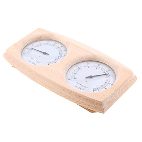 Fenteer Sauna Holz Thermometer und Hygrometer Sauna Holz Sauna Zubehör Doppel Messgeräte