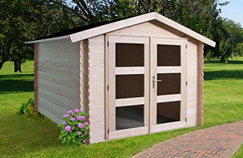 Alpholz Gerätehaus Holz mit Boden 225 x 210cm  Gartenhaus mit Dachpappe  Geräteschuppen naturbelassen ohne Farbbehandlung 225 x 210cm