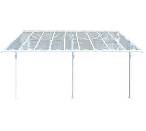 Hochwertige Aluminium Terrassenüberdachung Terrassendach Sierra 299x555 cm TxB - weiß inkl Befestigung und Regenrinne