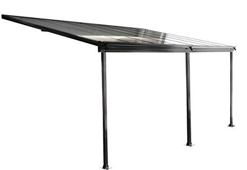 hausratplus osoltus Aluminium Terrassenüberdachung Terrassendach Veranda grau 435 x 300 cm