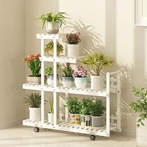 Anti-Korrosions-Massivholz-Blumen-Racks Mehrgeschossiger Balkon-Wohnzimmer Regale mit Rollen bewegen Blumenständer Multifunktions-Aufbewahrungsregal Farbe  Weiß größe  with Wheels
