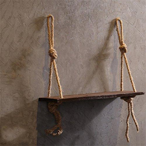 HQQ Regal für Wände 1 Etagen Holz Wandregal mit Hanfseil Regalböden Wandaufhängung für Wohnzimmer ALS Bücherregal Lagerregal Wanddeko Design braun
