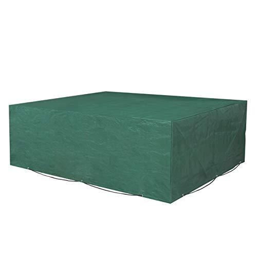 SONGMICS Schutzhülle für Gartenmöbel 200 x 160 x 70 cm Abdeckeplane für Tisch und Stühle Outdoor wasserdicht rechteckig grün GFC91L