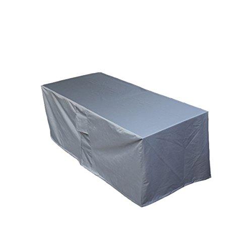 PATIO PLUS Schutzhülle Gartenmöbel Abdeckung Gartenmöbel und Abdeckplane für rechteckige Sitzgarnituren Gartentische und Möbelsets 250x200x80 cm Grau