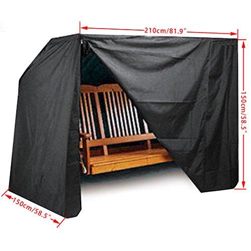 Scallop 210T Polyster UV-Beständig Wasserdichte Schutzhülle Cover für Hollywoodschaukel Abdeckhaube Hülle Abdeckung für Gartenschaukel 210x150x150cm Schwarz