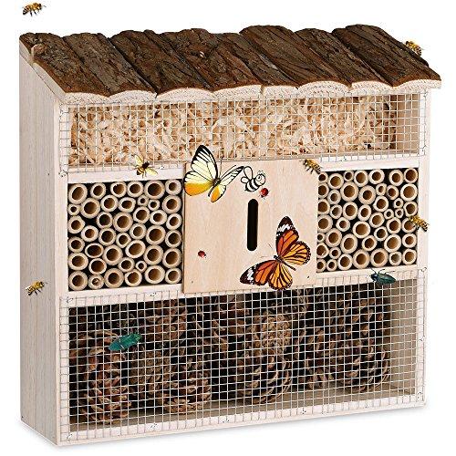 Deuba Insektenhotel Natur Holz  31 x 31 cm Brutkasten Schmetterlinge Bienen Insekten Nistkasten  Vogelschutz Metallgitter Garten