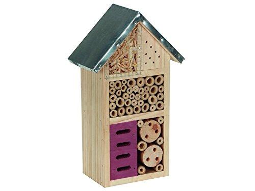 Perel Insektenhotel aus Holz mit Mettaldach mittelgroß 26 x 15 x 8 cm braun BB50502