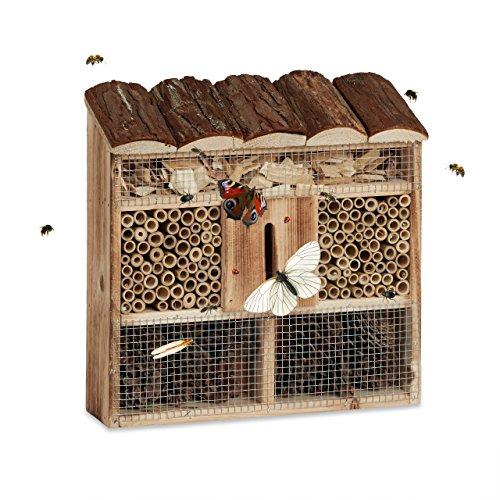 Relaxdays Insektenhotel Zum Aufhängen Bienenhotel Schmetterlingshaus Geflämmtes Holz HBT 31 x 305 x 95 cm natur