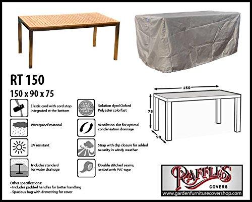 Raffles Covers Abdeckung für Esstisch 150 x 90 cm Schutzhülle für rechteckigen Gartentisch Abdeckhaube für Gartentisch Gartenmöbel Abdeckung