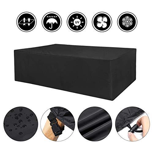 Gartenmöbel Abdeckung 210T Polyester Schutzhülle für Garten-Tisch und Stühle UV-Schutz Wasserdicht Schutzhülle für Tisch 145x115x65cm