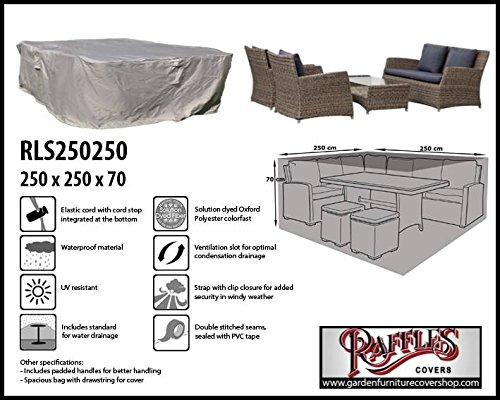 Raffles Covers Schutzhülle für Rattan Lounge Gartenmöbel 250 x 250 Gartenmöbel Lounge Möbel Set Schutzhülle Hülle Haube Plane Abdeckung Abdeckplane für Lounge Set