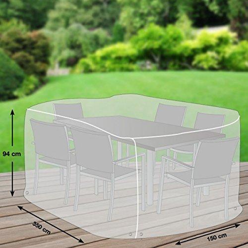 Klassik Schutzhülle für Sitzgruppe rechteckig aus PE-Bändchengewebe - transparent - von mehr Garten - Größe XL 350 x 150 cm