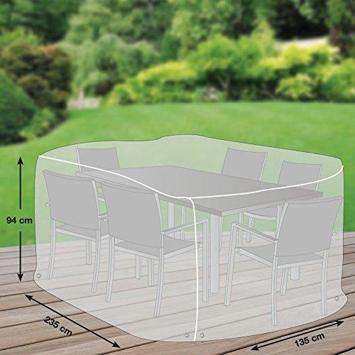 Premium Schutzhülle für Sitzgruppe rechteckig aus Polyester Oxford 600D - lichtgrau - von mehr Garten - Größe L 235 x 135 cm