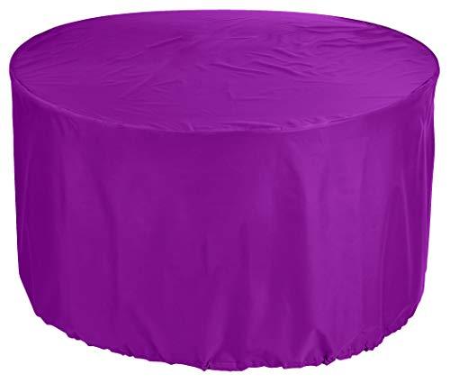 KaufPirat Premium Abdeckplane Rund Ø 250 x 75 cm Lila Gartenmöbel Gartentisch Abdeckung Schutzhülle Abdeckhaube Outdoor Round Patio Table Cover