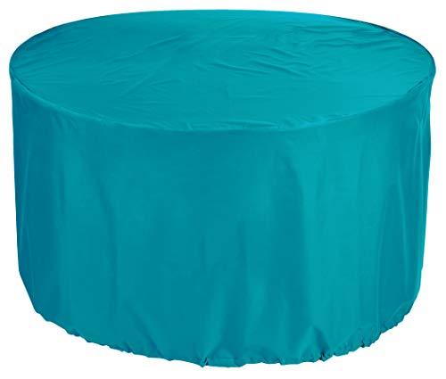 KaufPirat Premium Abdeckplane Rund Ø 250 x 75 cm Türkis Gartenmöbel Gartentisch Abdeckung Schutzhülle Abdeckhaube Outdoor Round Patio Table Cover