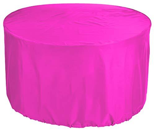 KaufPirat Premium Abdeckplane Rund Ø 250 x 90 cm Pink Gartenmöbel Gartentisch Abdeckung Schutzhülle Abdeckhaube Outdoor Round Patio Table Cover
