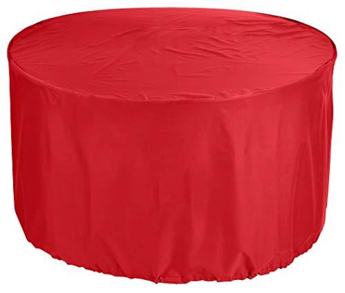 KaufPirat Premium Abdeckplane Rund Ø 250 x 90 cm Rot Gartenmöbel Gartentisch Abdeckung Schutzhülle Abdeckhaube Outdoor Round Patio Table Cover