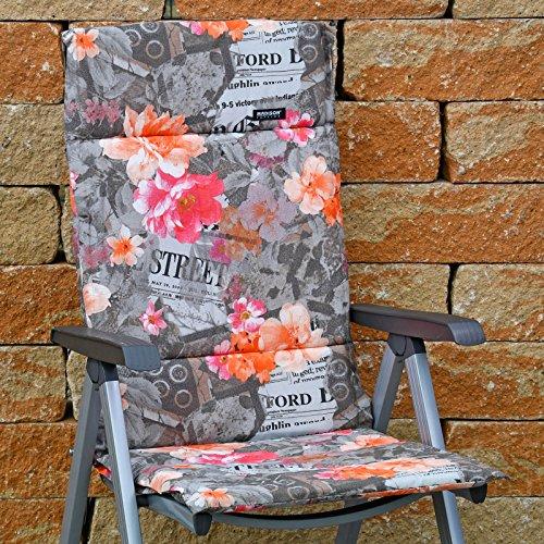 4 Hochlehner Auflagen 123 x 50 x 3 cm Madison Fiber de luxe Newspaper Taupe Gartenpolster ohne Sessel