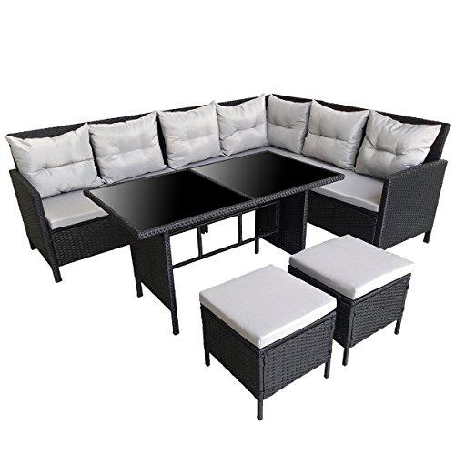 SVITA Poly Rattan Ecksofa Rattan-Lounge Esstisch Gartenmöbel-Set Sofa Garnitur Couch-Eck Dining Set Schwarz