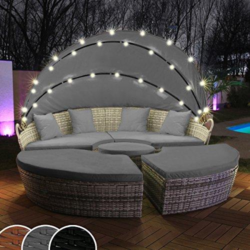Swing Harmonie Polyrattan Sonneninsel mit LED Beleuchtung  Solarmodul inklusive Abdeckcover Rattan Lounge Sunbed Liege Insel mit Regencover Sonnenliege Gartenliege 180cm Grau