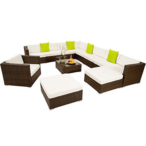 TecTake Hochwertige XXL Aluminium Poly-Rattan Lounge Sitzgruppe Set inkl Klemmen - Diverse Farben - Schwarz-Braun  Nr 401509