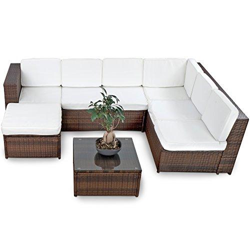 XINRO XXXL Polyrattan Lounge Set Lounge Möbel Lounge Sofa Garnitur - für 6 Personen mit Tisch Fusskocker Kissen - Rattan Garnitur Sitzgruppe - InOutdoor - handgeflochten - braun