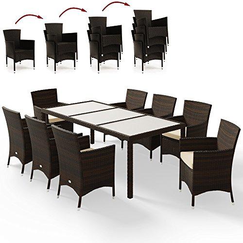 Deuba Poly Rattan Sitzgruppe 81 Braun  8 stapelbare Stühle  7cm dicke Sitzauflagen Creme  wetterfestes Polyrattan  Modell- Farbauswahl 41  61  81  - Gartenmöbel Gartenset Lounge Sitzgarnitur Essgruppe Set