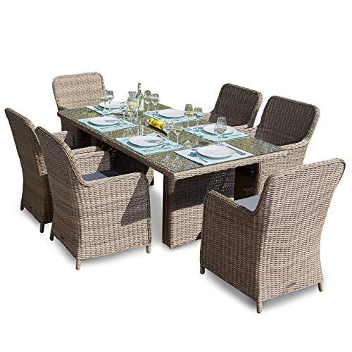 Green Spirit Hochwertige Tischgruppe 13-TLG in Braun Polyrattan Garten Möbel Poly Rattan Speisegruppe Tischgruppe Hellbraun Gartenmöbel XL-Stühle Sicherheitsglas