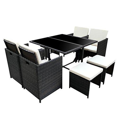 Poly Rattan Essgruppe Rattan Set mit Glastisch Garnitur Gartenmöbel Sitzgruppe Lounge 4 Stühle Schwarz